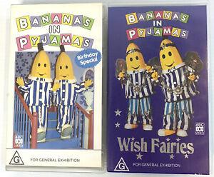 VHS Tapes X2 Bananas In Pyjamas Birthday Special & Wish Fairies - ABC Rare Video