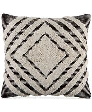 "Martha Stewart Nesting Diamonds 20"" Square Decorative Pillow Ivory/Black I128"
