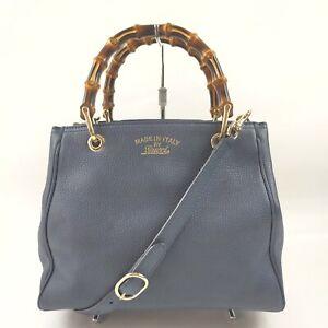 Gucci Hand Bag  Dark Blue Leather 1513334