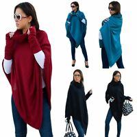 WOMEN LADIES WARM PONCHO + MITTENS GLOVES JUMPER SWEATER JACKET CAPE SHAWL WRAP