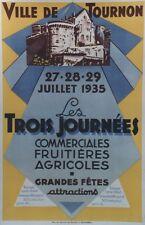 """""""JOURNEES FRUITIERES AGRICOLES TOURNON 1935""""Affiche origin. entoil. L. BOUCABEIL"""