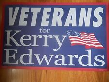 VETERANS for KERRY-EDWARDS   Election Poster 13.5 x 21.5   double sided