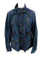 SUPERDRY LIMITED Womens Jacket Coat M Medium Blue Cotton Belt