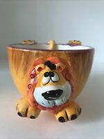 The Da Vinci Collection Handpainted Ceramic LION Soup Bowl