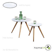 2er Set Beistelltisch Couchtisch Design Nachttisch Hochglanz Bambus MDF Weiß