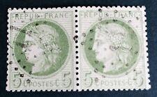 France N° 53 5 C Vert En Paire Obli ( Fond Ligne ) TTB Cote 180€