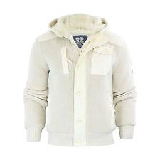 Mens Hooded Cardigan Crosshatch Charnock Heavy Knitted Hoodie Jacket With Fleece Vaporous Grey Medium