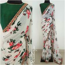 White Floral Printed Bollywood Saree Party Wear Ethnic Wedding Designer Sari