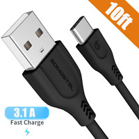 Ultra-Rapid USB Type C Cable 10FT, SOMOSTEL USB A to C Fast Charger 3.1A Power 4