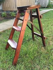 Vintage Round Library Wood Step Stool / Ladder - Very Sturdy !