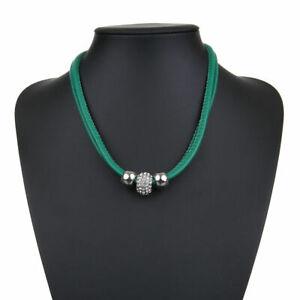 Kette farbiges Lederband grün mit Magnet-Verschluß