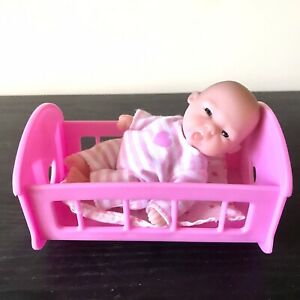 Berenguer Doll Mini Baby And Rocker Cradle - Stick Out Tongue - Moveable Joints