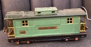 LIONEL LINES #817 O' GAUGE STATE SET PREWAR CABOOSE CAR GREEN ROOF