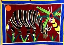 Hand Applique WALL HANGING front only hand stitched Hawaiian Flowers and Zebra