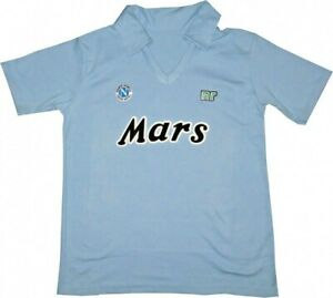 Maradona Napoli Mars Retro Soccer Jersey Shirt 1988/89 Blue