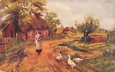 """""""The Farmers Daughter"""" on Country Lane~Geese~Sheep~Cottages~1907 Artist Postcard"""