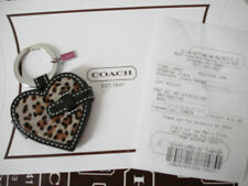 NEW Coach Leather Leopard Heart Picture Frame KeyFob Key Chain 92947 **RARE**