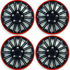 "15 ""POLLICI Lightning Sports ruota coperchio TRIM SET NERO CON ANELLO ROSSO RIMS (4pz)"
