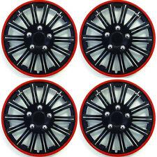 """15 """"POLLICI Lightning Sports ruota coperchio TRIM SET NERO CON ANELLO ROSSO RIMS (4pz)"""