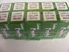 A TEN(10) PACK ORIGINAL LUCAS LLB382 12v 21W BULB SCC BRAKE/TAIL/INDICATOR 382
