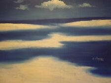 Abstracto mínima Mar Océano Azul Grande Pintura al Óleo Lienzo Paisaje Arte Moderno