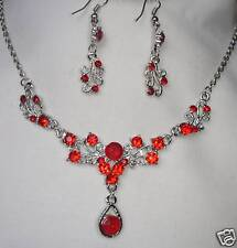 SILVER TONE RED CRYSTAL  SMALL TEARDROP NECKLACE SET