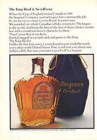 1966 Seagram's PRINT AD Canadian Whisky Crown Royal Purple Sack Vintage Bottle