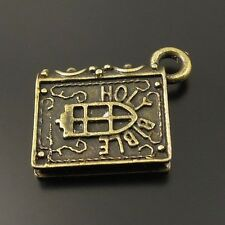 20pcs Retro Antiqued Bronze Tone Holy Bible Note Book Pandent Charms 15mm 33450