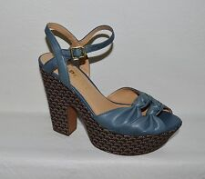REPORT RAY SIZE 7.5 M BLUE LEATHER FLOWER PLATFORM SANDALS