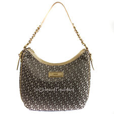 NEW DKNY Donna Karan Chino Gold Large Zip Top Monogram Hobo Shoulder Bag  DustBag efff771e7bed2