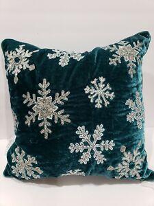 "CHRISTMAS 34th & Pine Teal Green Velvet Snowflake Beaded Throw Pillow 18"" x 18"""