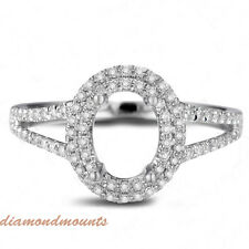 6x8MM Oval Cut Solid 18K White Gold Natural Diamond Semi Mount  Ring Setting