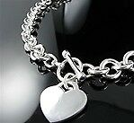 "18"" .925 Sterling Silver Large Round Links Toggle Heart Necklace"