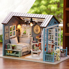 House LED Music DIY Doll Lights Furniture Kits Mini Wooden Dollhouse Happy Times