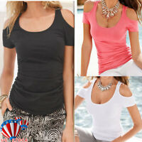 Womens Cold Shoulder T-Shirt Ladies Summer Casual Short Sleeve Slim Tops Blouse