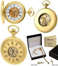 Woodford Half Hunter Pocket Watch, Skeleton Back Gold Plated Free Engraving 1100