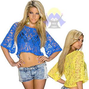 MAGLIETTA da DONNA Vestagia SEXY Rete PIZZO T-shirt SERA 3/4 Casual DISCO 22274