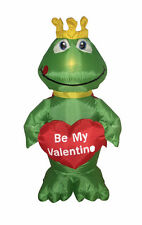 Valentine's Lighted Air Blown Inflatable Yard Decoration Frog Prince with Heart