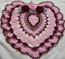 Mother's day  pink and burgundy roses crocheted doily by Aeshagirl!!!!!