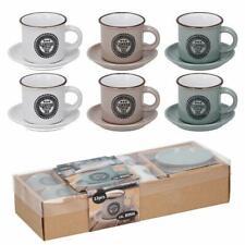 Set 6 Tazzine da Caffe con Piattino Tazze 89ml per Colazione in Porcellana
