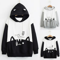 Women Casual Long Sleeve Cat Print Pocket Hoodie Sweatshirt Blouse Tops Shirts