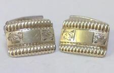 Vintage Pair of Retro '830' Silver Gilt Tablet & Bar Cufflinks