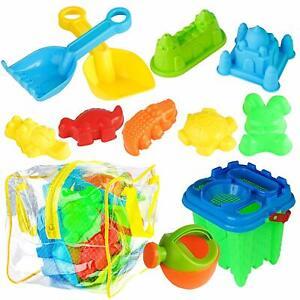 13 PCS Kids Beach Toys Sand Pit Bucket Spade Play Set Sand Castle Outdoor Indoor
