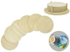 """Unfinished Wood 3.7"""" DIY Round Coasters 5mm (T) 6 pieces with Base"""