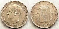 Spain-Alfonso XIII. 5 Pesetas 1898*18-98. Madrid. EBC-/XF-. Plata 25 g.