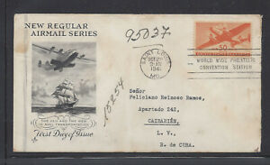 UNITED STATES C31 50c TRANSPORT FIRST DAY COVER TO CARIBBEAN BACKSTAMPED