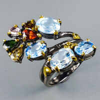 Jewelry Handmade Natural Blue Topaz 925 Sterling Silver Ring Size 6.5/R124354