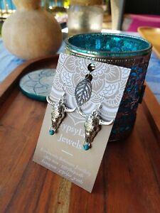 'Mandala Bone Skull' Earrings Turquoise Bull Horn Navajo GypsyLee ♡