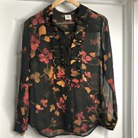 CAbi Catherine Orange Red Floral Blouse XS
