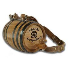 Thanks Fur Eve. St. Bernard Dog Personalized Oak Barrel w/Hoops & Leather Collar